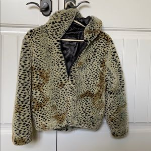 Faux fur cheetah print jacket